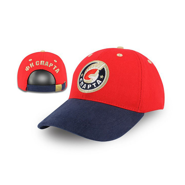 Red Baseball Cap Navy Brim