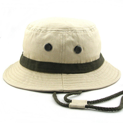 Cotton Twill Bucket Hat with String