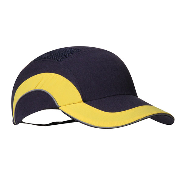 Police Safety Bump Cap Yellow Contrast Navy